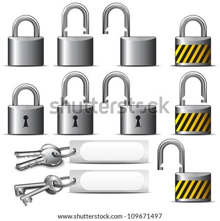 Padlock and Key - A set of Padlocks and Keys in Steel - Raster Version - stock photo