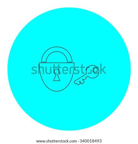 Padlock and key. Black outline flat symbol on blue circle. Simple illustration pictograh on white background - stock photo