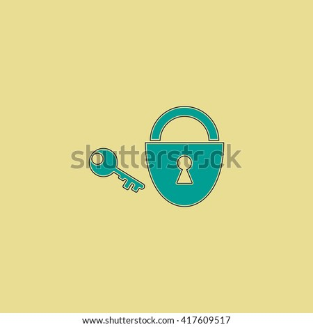 Padlock and key. Grren simple flat symbol with black stroke over yellow background - stock photo