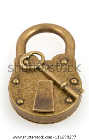 Padlock and key isolated on white background with clipping path - stock photo