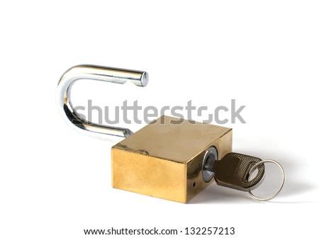 padlock and key on white background - stock photo