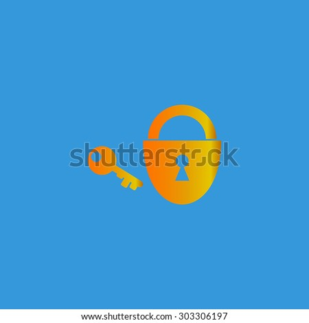 Padlock and key. Simple flat icon on blue background - stock photo