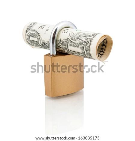 Padlock and one dollar bill - stock photo