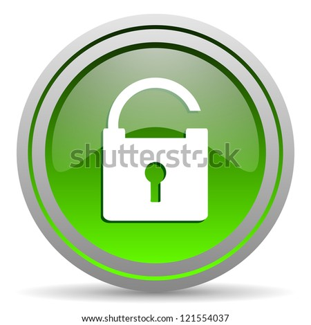 padlock green glossy icon on white background - stock photo