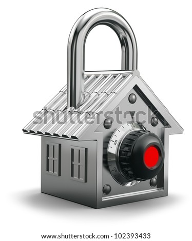 Padlock having the shape of a house, home security concept - stock photo
