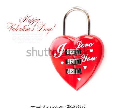 Padlock heart-shape on white background - stock photo