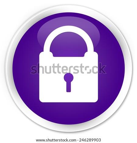 Padlock icon purple glossy round button - stock photo