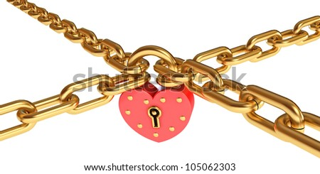 Padlock in a heart-shaped. Gold chain. Isolated on white background. Conceptual illustration. 3d render - stock photo