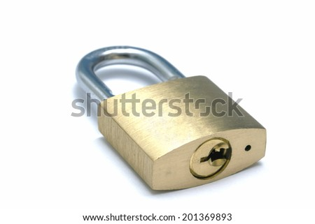 Padlock isolated on white background  - stock photo