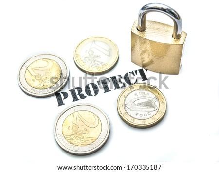 Padlock protecting euro coins isolated on white background - stock photo