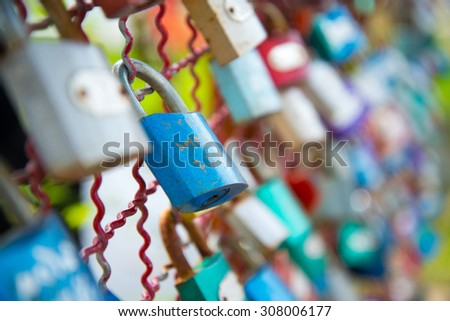 Padlock symbol representing the living together - stock photo