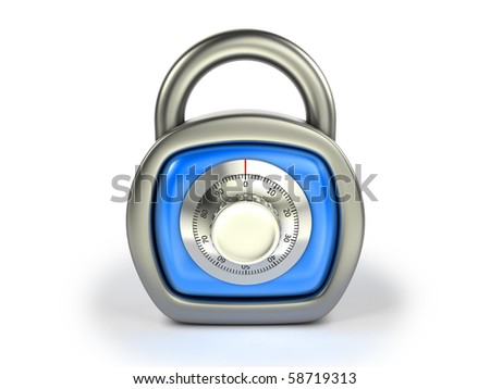 Padlock with combination lock - stock photo