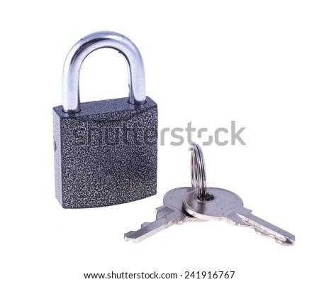 Padlock with keys - stock photo