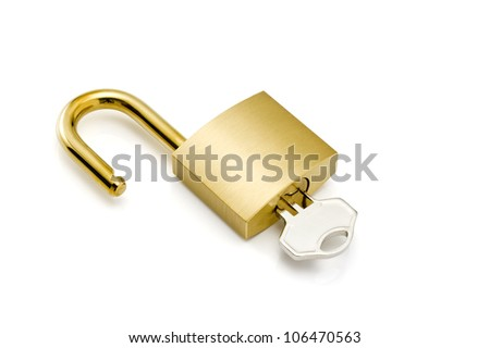 Padlock with keys and chain isolated on white. - stock photo