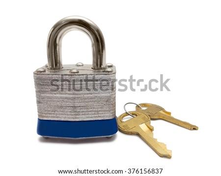Padlock with keys isolated on white background. - stock photo