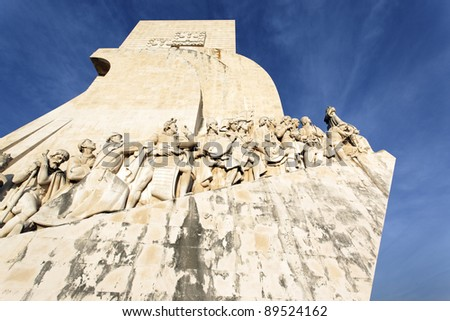 Padrao dos Descobrimentos and blue sky in Lisbon - stock photo