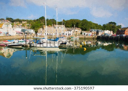 Padstow harbour North Cornwall coast England UK beautiful late summer sun and calm fine weather illustration - stock photo