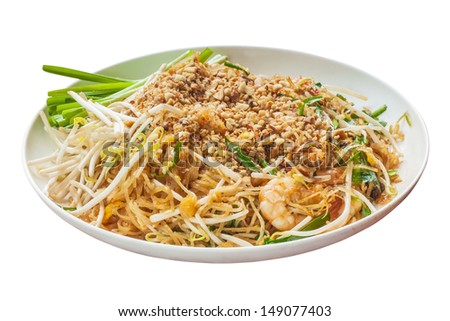 Padthai food from Thailand isolated on white background - stock photo