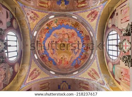 PADUA, ITALY - SEPTEMBER 9, 2014: The Cupola in church Basilica del Carmine from 1932 by Antonio Sebastiano Fasal wtih the Coronation of Virgin Mary as the centeral motive. - stock photo