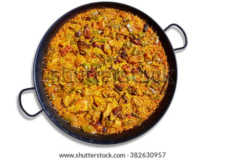 Paella from Spain rice recipe from Mediterranean - stock photo