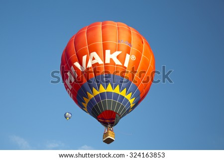 Paestum, Salerno, Italy, 04 October, 2015,. Hot Air Balloons Festival . Every year near the Paestum acropolis dozens of hot air balloons soar in the sky during the annual Festival - stock photo