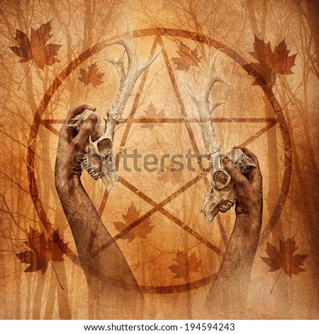 Pagan ritual graphic with hands upholding two stag skulls against a forest background overlaid with a pentagram. - stock photo