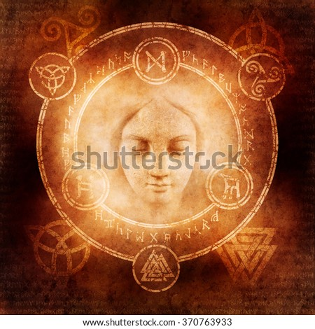 Pagan White Magic design with a mysterious female sorceress materialising within a magic circle of elaborate pagan and runic symbols. - stock photo