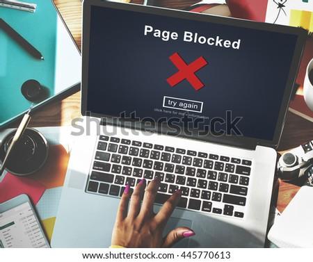 Page Blocked Error Data Internet Online Technology Concept - stock photo