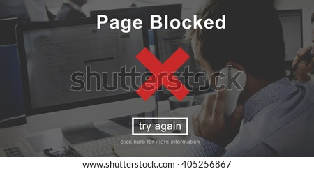 Page Blocked Problems Error Forbidden Concept - stock photo
