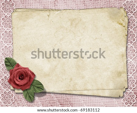 Page for photo or invitation on the vintage background. - stock photo