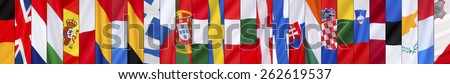 Page Header - 28 Flags of the European Union (By size of Population) - stock photo