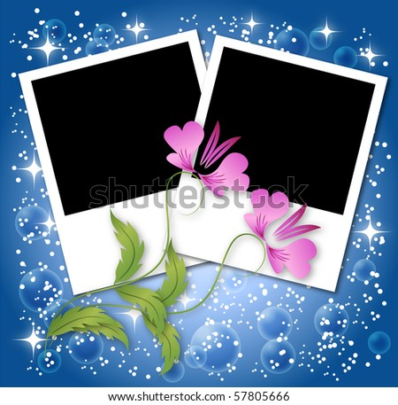 Page layout photo album with flowers and stars. Raster version of vector. - stock photo