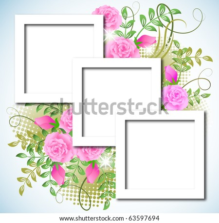 Page layout postcard with flowers ornament for inserting text or photo - stock photo