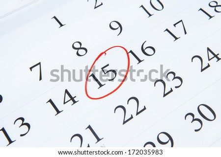 Page of calendar showing date of 15th - stock photo