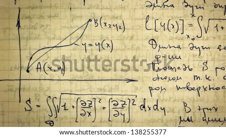 Page of old textured vintage paper with the calculation of the higher mathematics - stock photo
