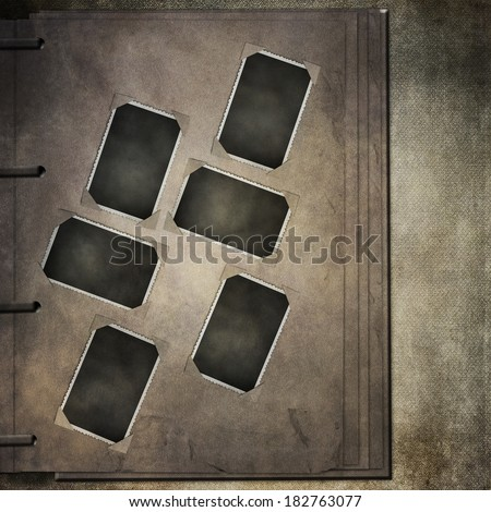 Page of vintage photo album, with photo frames  - stock photo
