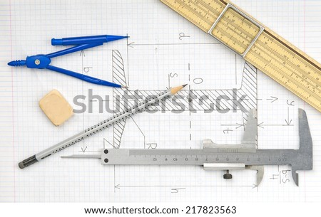 Page with technical drawing and engineering tools   - stock photo