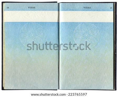 Pages for visa marks in the old British passport - stock photo