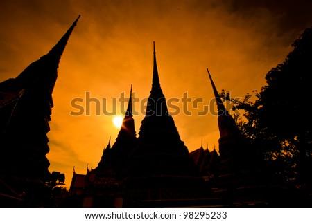 Pagoda at Wat Pro in bangkok Thailand - stock photo