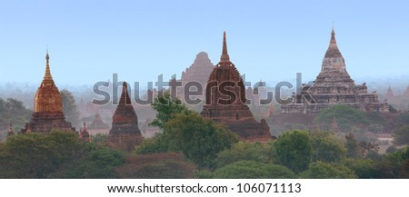 Pagoda field at Bagan, Burma - stock photo