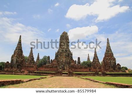 Pagoda in Chaiwattanaram temple at Ayutthaya Historical Park ,Thailand - stock photo