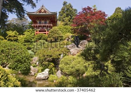 Pagoda in Golden Gate Park - stock photo