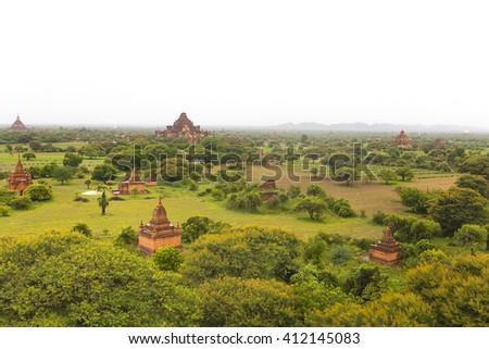 Pagoda landscape in the plain of Bagan at rainy day, Myanmar (Burma) - stock photo