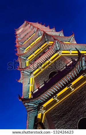 pagoda near night in fuzhou,Jiangxi Province,Zhengjue Temple - stock photo