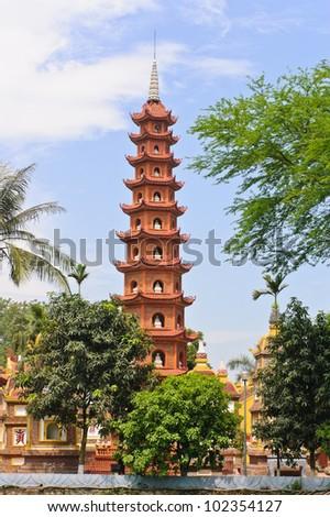Pagoda of Tran Quoc temple, Hanoi, Vietnam - stock photo
