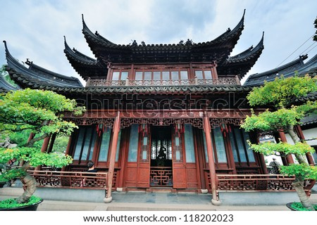 Pagoda old architecture and garden in Shanghai - stock photo