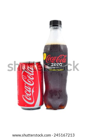 PAHANG, MALAYSIA - Jan 18, 2015: Coca-Cola product Isolated On White Background. Coca-Cola is a carbonated soft drink sold in shops, restaurants, and vending machines around the globe - stock photo