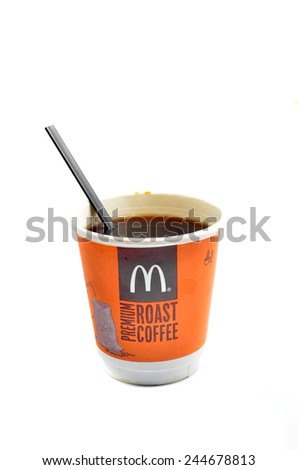 Pahang, Malaysia - January 12, 2015: McDonalds coffee cup McCafe isolated on white background - stock photo
