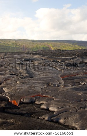 Pahoehoe lava flow below the Royal Gardens Subdivision - stock photo
