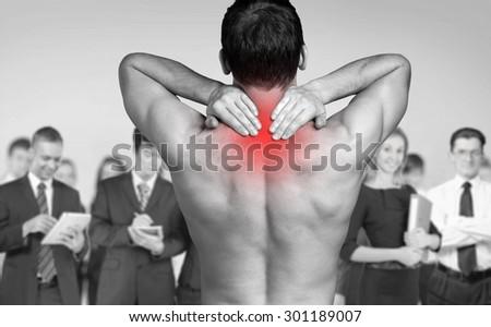 Pain, chiropractor, shoulder. - stock photo